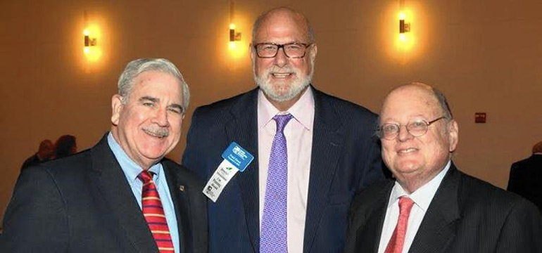 From left, Harve Mogul, president & CEO of United Way of Miami-Dade, Fred Stock, president & CEO of JCS, and Antonio Villamil, founder & principal of Washington Economics Group at JCS' annual meeting. (Submitted photo)