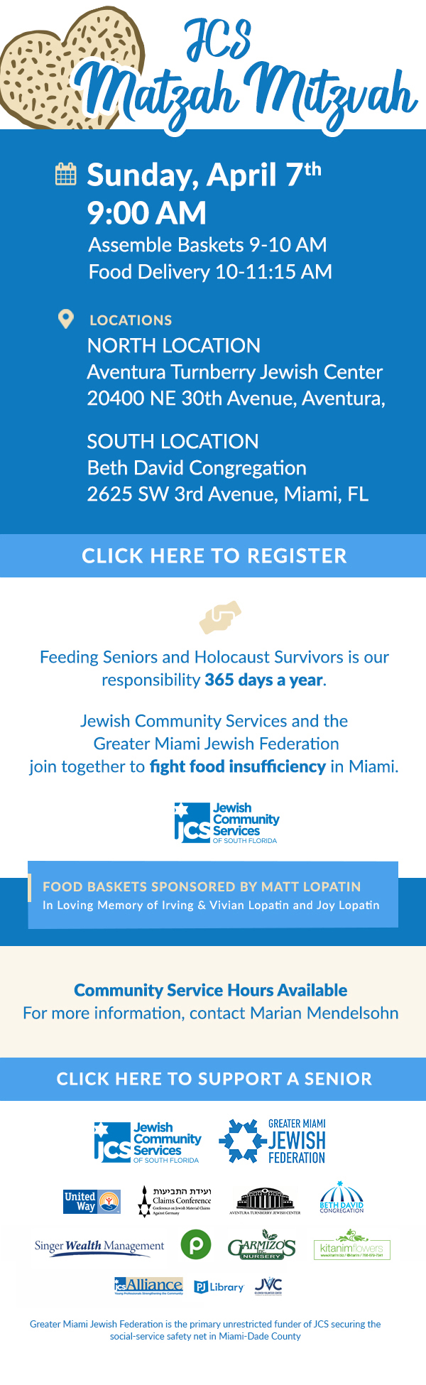 Click Here to register for Matzah Mitzvah held on Sunday April 7 at 9 a.m.