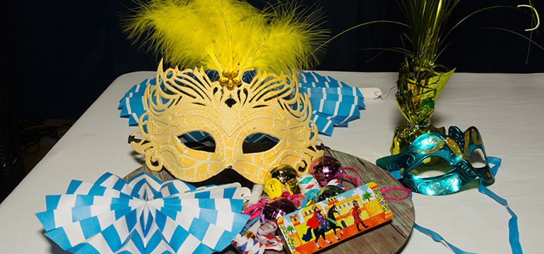 Purim table with decorations