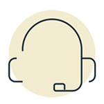 Icon of a person wearing a headset