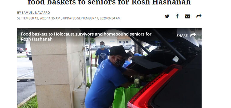 Miami Herald logo, Jewish Community Services delivers holiday food baskets to seniors for Rosh Hashanah article, someone putting bags into a car