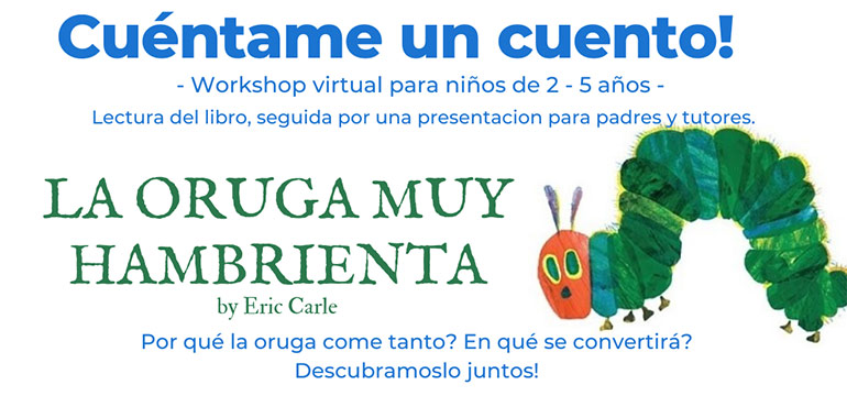 Image in Spanish, tell me a story, virtual workshop for kids two to five.
